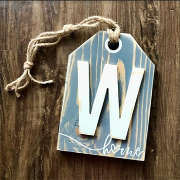 Monogram Wooden Tag