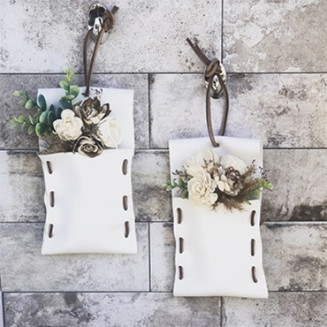 Leather & Wood Floral Wall Pockets