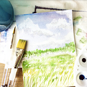 Watercolor & Masking: Abstract Landscapes