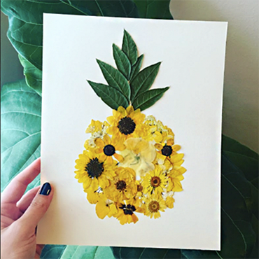 Create Pressed Flower Pineapple Art
