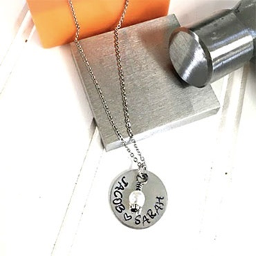 Hand Stamped Washer Necklace